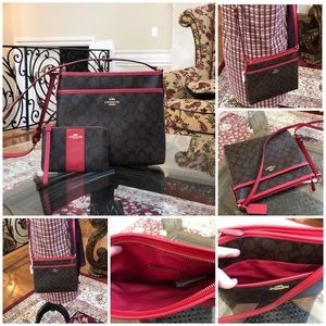 2pcs Authentic Coach Signature crossbody&Wristlet